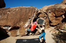 Bouldering in Hueco Tanks on 06/23/2019 with Blue Lizard Climbing and Yoga  Filename: SRM_20190623_0802250.jpg Aperture: f/5.6 Shutter Speed: 1/500 Body: Canon EOS-1D Mark II Lens: Canon EF 16-35mm f/2.8 L