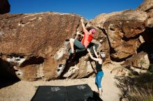 Bouldering in Hueco Tanks on 06/23/2019 with Blue Lizard Climbing and Yoga  Filename: SRM_20190623_0802430.jpg Aperture: f/5.6 Shutter Speed: 1/500 Body: Canon EOS-1D Mark II Lens: Canon EF 16-35mm f/2.8 L