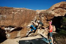 Bouldering in Hueco Tanks on 06/23/2019 with Blue Lizard Climbing and Yoga  Filename: SRM_20190623_0804550.jpg Aperture: f/5.6 Shutter Speed: 1/500 Body: Canon EOS-1D Mark II Lens: Canon EF 16-35mm f/2.8 L