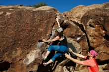 Bouldering in Hueco Tanks on 06/23/2019 with Blue Lizard Climbing and Yoga  Filename: SRM_20190623_0807060.jpg Aperture: f/5.6 Shutter Speed: 1/800 Body: Canon EOS-1D Mark II Lens: Canon EF 16-35mm f/2.8 L