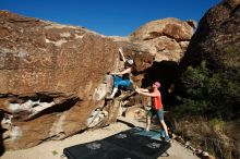 Bouldering in Hueco Tanks on 06/23/2019 with Blue Lizard Climbing and Yoga  Filename: SRM_20190623_0808050.jpg Aperture: f/5.6 Shutter Speed: 1/500 Body: Canon EOS-1D Mark II Lens: Canon EF 16-35mm f/2.8 L