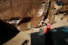 Bouldering in Hueco Tanks on 06/23/2019 with Blue Lizard Climbing and Yoga  Filename: SRM_20190623_0810280.jpg Aperture: f/5.6 Shutter Speed: 1/640 Body: Canon EOS-1D Mark II Lens: Canon EF 16-35mm f/2.8 L