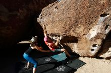 Bouldering in Hueco Tanks on 06/23/2019 with Blue Lizard Climbing and Yoga  Filename: SRM_20190623_0816120.jpg Aperture: f/5.6 Shutter Speed: 1/320 Body: Canon EOS-1D Mark II Lens: Canon EF 16-35mm f/2.8 L
