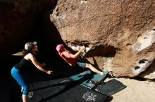 Bouldering in Hueco Tanks on 06/23/2019 with Blue Lizard Climbing and Yoga  Filename: SRM_20190623_0818230.jpg Aperture: f/5.6 Shutter Speed: 1/320 Body: Canon EOS-1D Mark II Lens: Canon EF 16-35mm f/2.8 L