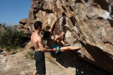 Bouldering in Hueco Tanks on 06/28/2019 with Blue Lizard Climbing and Yoga  Filename: SRM_20190628_0928130.jpg Aperture: f/5.6 Shutter Speed: 1/500 Body: Canon EOS-1D Mark II Lens: Canon EF 16-35mm f/2.8 L
