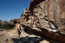 Bouldering in Hueco Tanks on 06/28/2019 with Blue Lizard Climbing and Yoga  Filename: SRM_20190628_0928360.jpg Aperture: f/5.6 Shutter Speed: 1/400 Body: Canon EOS-1D Mark II Lens: Canon EF 16-35mm f/2.8 L