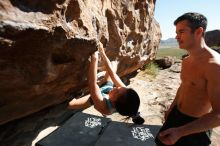 Bouldering in Hueco Tanks on 06/28/2019 with Blue Lizard Climbing and Yoga  Filename: SRM_20190628_0934460.jpg Aperture: f/5.6 Shutter Speed: 1/320 Body: Canon EOS-1D Mark II Lens: Canon EF 16-35mm f/2.8 L