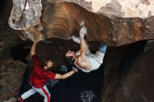 Bouldering in Hueco Tanks on 10/28/2019 with Blue Lizard Climbing and Yoga  Filename: SRM_20191028_1402460.jpg Aperture: f/3.5 Shutter Speed: 1/250 Body: Canon EOS-1D Mark II Lens: Canon EF 50mm f/1.8 II