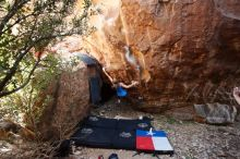 Bouldering in Hueco Tanks on 10/28/2019 with Blue Lizard Climbing and Yoga  Filename: SRM_20191028_1441340.jpg Aperture: f/4.0 Shutter Speed: 1/250 Body: Canon EOS-1D Mark II Lens: Canon EF 16-35mm f/2.8 L