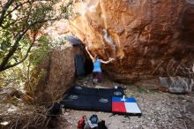 Bouldering in Hueco Tanks on 10/28/2019 with Blue Lizard Climbing and Yoga  Filename: SRM_20191028_1441350.jpg Aperture: f/4.0 Shutter Speed: 1/250 Body: Canon EOS-1D Mark II Lens: Canon EF 16-35mm f/2.8 L