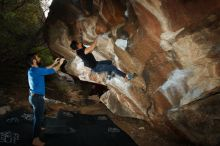 Bouldering in Hueco Tanks on 11/17/2019 with Blue Lizard Climbing and Yoga  Filename: SRM_20191117_1204230.jpg Aperture: f/8.0 Shutter Speed: 1/250 Body: Canon EOS-1D Mark II Lens: Canon EF 16-35mm f/2.8 L