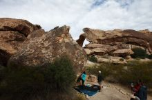 Bouldering in Hueco Tanks on 11/16/2019 with Blue Lizard Climbing and Yoga  Filename: SRM_20191116_1028000.jpg Aperture: f/8.0 Shutter Speed: 1/500 Body: Canon EOS-1D Mark II Lens: Canon EF 16-35mm f/2.8 L