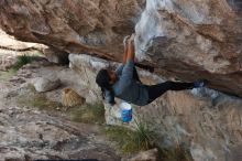 Bouldering in Hueco Tanks on 11/24/2019 with Blue Lizard Climbing and Yoga  Filename: SRM_20191124_1007100.jpg Aperture: f/5.6 Shutter Speed: 1/250 Body: Canon EOS-1D Mark II Lens: Canon EF 50mm f/1.8 II