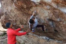 Bouldering in Hueco Tanks on 11/24/2019 with Blue Lizard Climbing and Yoga  Filename: SRM_20191124_1008520.jpg Aperture: f/6.3 Shutter Speed: 1/250 Body: Canon EOS-1D Mark II Lens: Canon EF 50mm f/1.8 II