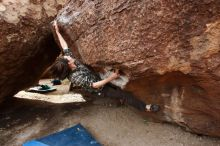 Bouldering in Hueco Tanks on 11/25/2019 with Blue Lizard Climbing and Yoga  Filename: SRM_20191125_1101060.jpg Aperture: f/5.6 Shutter Speed: 1/250 Body: Canon EOS-1D Mark II Lens: Canon EF 16-35mm f/2.8 L