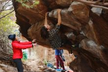 Bouldering in Hueco Tanks on 11/25/2019 with Blue Lizard Climbing and Yoga  Filename: SRM_20191125_1343320.jpg Aperture: f/4.0 Shutter Speed: 1/320 Body: Canon EOS-1D Mark II Lens: Canon EF 50mm f/1.8 II