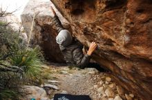 Bouldering in Hueco Tanks on 11/26/2019 with Blue Lizard Climbing and Yoga  Filename: SRM_20191126_1019100.jpg Aperture: f/5.0 Shutter Speed: 1/250 Body: Canon EOS-1D Mark II Lens: Canon EF 16-35mm f/2.8 L