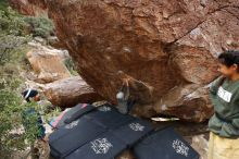 Bouldering in Hueco Tanks on 11/26/2019 with Blue Lizard Climbing and Yoga  Filename: SRM_20191126_1111290.jpg Aperture: f/7.1 Shutter Speed: 1/250 Body: Canon EOS-1D Mark II Lens: Canon EF 16-35mm f/2.8 L