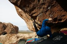 Bouldering in Hueco Tanks on 11/27/2019 with Blue Lizard Climbing and Yoga  Filename: SRM_20191127_0956400.jpg Aperture: f/8.0 Shutter Speed: 1/250 Body: Canon EOS-1D Mark II Lens: Canon EF 16-35mm f/2.8 L