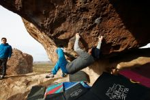 Bouldering in Hueco Tanks on 11/27/2019 with Blue Lizard Climbing and Yoga  Filename: SRM_20191127_0958170.jpg Aperture: f/8.0 Shutter Speed: 1/250 Body: Canon EOS-1D Mark II Lens: Canon EF 16-35mm f/2.8 L