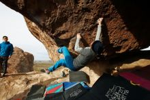 Bouldering in Hueco Tanks on 11/27/2019 with Blue Lizard Climbing and Yoga  Filename: SRM_20191127_0958190.jpg Aperture: f/8.0 Shutter Speed: 1/250 Body: Canon EOS-1D Mark II Lens: Canon EF 16-35mm f/2.8 L