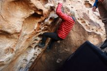 Bouldering in Hueco Tanks on 11/30/2019 with Blue Lizard Climbing and Yoga  Filename: SRM_20191130_1006400.jpg Aperture: f/5.0 Shutter Speed: 1/250 Body: Canon EOS-1D Mark II Lens: Canon EF 16-35mm f/2.8 L