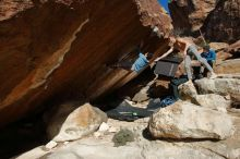 Bouldering in Hueco Tanks on 12/16/2019 with Blue Lizard Climbing and Yoga  Filename: SRM_20191216_1404590.jpg Aperture: f/9.0 Shutter Speed: 1/250 Body: Canon EOS-1D Mark II Lens: Canon EF 16-35mm f/2.8 L