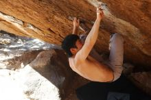 Bouldering in Hueco Tanks on 12/16/2019 with Blue Lizard Climbing and Yoga  Filename: SRM_20191216_1412290.jpg Aperture: f/5.0 Shutter Speed: 1/250 Body: Canon EOS-1D Mark II Lens: Canon EF 50mm f/1.8 II