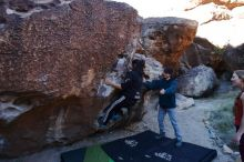 Bouldering in Hueco Tanks on 12/19/2019 with Blue Lizard Climbing and Yoga  Filename: SRM_20191219_1044060.jpg Aperture: f/4.5 Shutter Speed: 1/250 Body: Canon EOS-1D Mark II Lens: Canon EF 16-35mm f/2.8 L