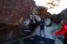 Bouldering in Hueco Tanks on 12/19/2019 with Blue Lizard Climbing and Yoga  Filename: SRM_20191219_1046080.jpg Aperture: f/5.0 Shutter Speed: 1/250 Body: Canon EOS-1D Mark II Lens: Canon EF 16-35mm f/2.8 L