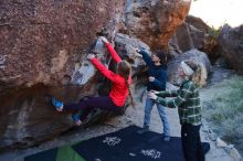 Bouldering in Hueco Tanks on 12/19/2019 with Blue Lizard Climbing and Yoga  Filename: SRM_20191219_1046390.jpg Aperture: f/4.5 Shutter Speed: 1/250 Body: Canon EOS-1D Mark II Lens: Canon EF 16-35mm f/2.8 L
