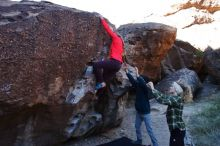 Bouldering in Hueco Tanks on 12/19/2019 with Blue Lizard Climbing and Yoga  Filename: SRM_20191219_1046580.jpg Aperture: f/5.0 Shutter Speed: 1/250 Body: Canon EOS-1D Mark II Lens: Canon EF 16-35mm f/2.8 L