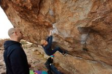 Bouldering in Hueco Tanks on 12/23/2019 with Blue Lizard Climbing and Yoga  Filename: SRM_20191223_1000180.jpg Aperture: f/6.3 Shutter Speed: 1/250 Body: Canon EOS-1D Mark II Lens: Canon EF 16-35mm f/2.8 L