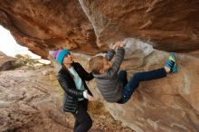 Bouldering in Hueco Tanks on 12/23/2019 with Blue Lizard Climbing and Yoga  Filename: SRM_20191223_1000560.jpg Aperture: f/5.0 Shutter Speed: 1/250 Body: Canon EOS-1D Mark II Lens: Canon EF 16-35mm f/2.8 L