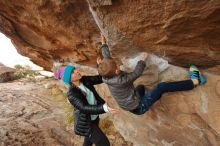 Bouldering in Hueco Tanks on 12/23/2019 with Blue Lizard Climbing and Yoga  Filename: SRM_20191223_1001000.jpg Aperture: f/5.0 Shutter Speed: 1/250 Body: Canon EOS-1D Mark II Lens: Canon EF 16-35mm f/2.8 L