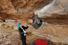 Bouldering in Hueco Tanks on 12/23/2019 with Blue Lizard Climbing and Yoga  Filename: SRM_20191223_1001170.jpg Aperture: f/5.6 Shutter Speed: 1/250 Body: Canon EOS-1D Mark II Lens: Canon EF 16-35mm f/2.8 L