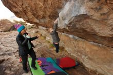 Bouldering in Hueco Tanks on 12/23/2019 with Blue Lizard Climbing and Yoga  Filename: SRM_20191223_1001260.jpg Aperture: f/6.3 Shutter Speed: 1/250 Body: Canon EOS-1D Mark II Lens: Canon EF 16-35mm f/2.8 L