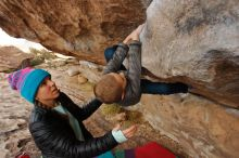 Bouldering in Hueco Tanks on 12/23/2019 with Blue Lizard Climbing and Yoga  Filename: SRM_20191223_1001350.jpg Aperture: f/5.6 Shutter Speed: 1/250 Body: Canon EOS-1D Mark II Lens: Canon EF 16-35mm f/2.8 L