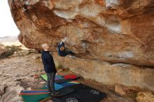 Bouldering in Hueco Tanks on 12/23/2019 with Blue Lizard Climbing and Yoga  Filename: SRM_20191223_1002510.jpg Aperture: f/7.1 Shutter Speed: 1/250 Body: Canon EOS-1D Mark II Lens: Canon EF 16-35mm f/2.8 L
