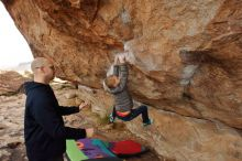 Bouldering in Hueco Tanks on 12/23/2019 with Blue Lizard Climbing and Yoga  Filename: SRM_20191223_1004000.jpg Aperture: f/6.3 Shutter Speed: 1/250 Body: Canon EOS-1D Mark II Lens: Canon EF 16-35mm f/2.8 L
