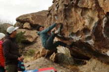 Bouldering in Hueco Tanks on 12/28/2019 with Blue Lizard Climbing and Yoga  Filename: SRM_20191228_1105120.jpg Aperture: f/5.0 Shutter Speed: 1/250 Body: Canon EOS-1D Mark II Lens: Canon EF 50mm f/1.8 II