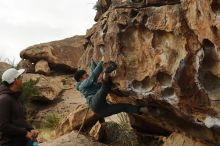 Bouldering in Hueco Tanks on 12/28/2019 with Blue Lizard Climbing and Yoga  Filename: SRM_20191228_1105130.jpg Aperture: f/5.0 Shutter Speed: 1/250 Body: Canon EOS-1D Mark II Lens: Canon EF 50mm f/1.8 II