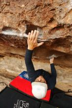 Bouldering in Hueco Tanks on 12/28/2019 with Blue Lizard Climbing and Yoga  Filename: SRM_20191228_1113420.jpg Aperture: f/5.6 Shutter Speed: 1/400 Body: Canon EOS-1D Mark II Lens: Canon EF 16-35mm f/2.8 L