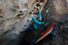 Bouldering in Hueco Tanks on 12/29/2019 with Blue Lizard Climbing and Yoga  Filename: SRM_20191229_1050290.jpg Aperture: f/4.5 Shutter Speed: 1/250 Body: Canon EOS-1D Mark II Lens: Canon EF 16-35mm f/2.8 L