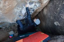 Bouldering in Hueco Tanks on 12/29/2019 with Blue Lizard Climbing and Yoga  Filename: SRM_20191229_1052181.jpg Aperture: f/3.2 Shutter Speed: 1/250 Body: Canon EOS-1D Mark II Lens: Canon EF 16-35mm f/2.8 L
