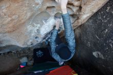 Bouldering in Hueco Tanks on 12/29/2019 with Blue Lizard Climbing and Yoga  Filename: SRM_20191229_1053400.jpg Aperture: f/3.2 Shutter Speed: 1/250 Body: Canon EOS-1D Mark II Lens: Canon EF 16-35mm f/2.8 L