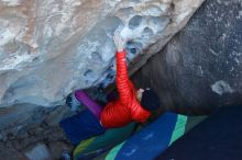 Bouldering in Hueco Tanks on 01/08/2020 with Blue Lizard Climbing and Yoga  Filename: SRM_20200108_1038370.jpg Aperture: f/3.5 Shutter Speed: 1/250 Body: Canon EOS-1D Mark II Lens: Canon EF 16-35mm f/2.8 L