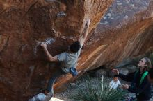Bouldering in Hueco Tanks on 01/18/2020 with Blue Lizard Climbing and Yoga  Filename: SRM_20200118_1107090.jpg Aperture: f/4.0 Shutter Speed: 1/250 Body: Canon EOS-1D Mark II Lens: Canon EF 50mm f/1.8 II