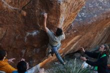 Bouldering in Hueco Tanks on 01/18/2020 with Blue Lizard Climbing and Yoga  Filename: SRM_20200118_1107150.jpg Aperture: f/4.0 Shutter Speed: 1/250 Body: Canon EOS-1D Mark II Lens: Canon EF 50mm f/1.8 II