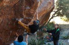 Bouldering in Hueco Tanks on 01/18/2020 with Blue Lizard Climbing and Yoga  Filename: SRM_20200118_1109260.jpg Aperture: f/4.0 Shutter Speed: 1/250 Body: Canon EOS-1D Mark II Lens: Canon EF 50mm f/1.8 II